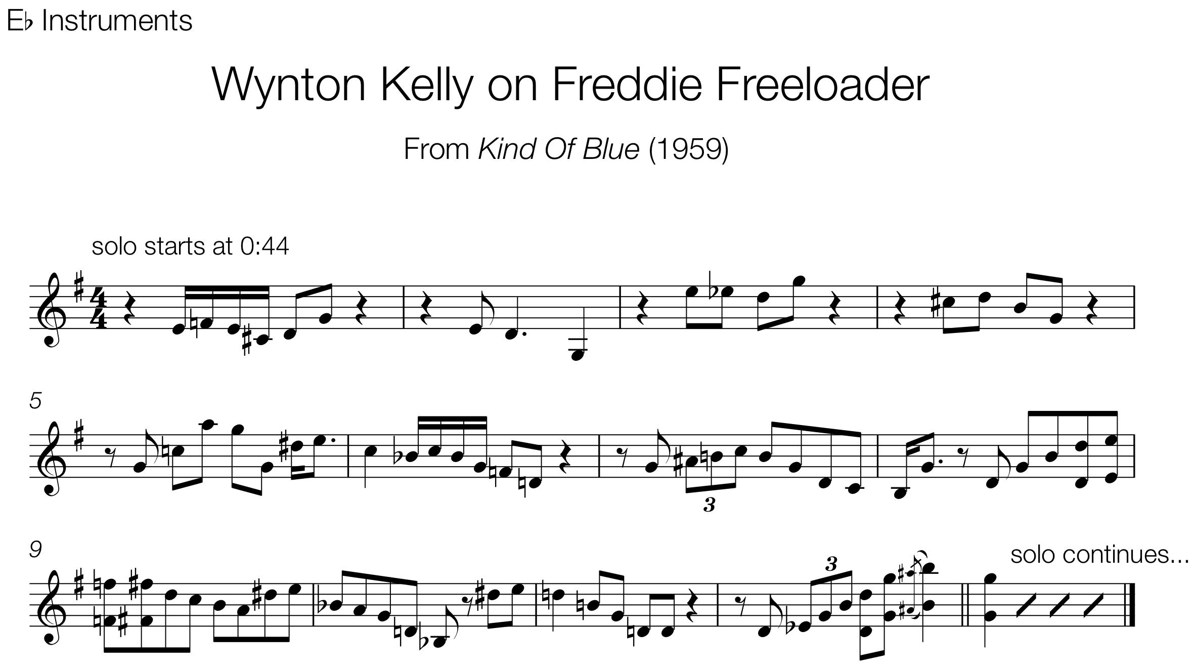 Blues the jazz language wynton kelly on freddie freeloader hexwebz Gallery